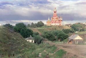 Vista geral da Catedral Nikolaevskii do sudoeste em Mozhaisk, 1911.