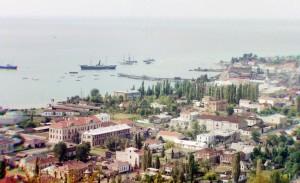 Vista geral da região Abkhazia (Geórgia) e de sua baía, 1910.